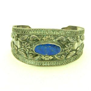 Blue Lapis Lazuli .925 Sterling Silver Embossed